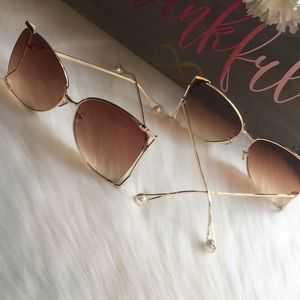 Accessories - 2 for $30 Brown Ombré Oversized Pearl Sunglasses